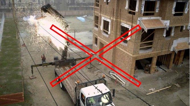 فاصله مجاز جرثقیل از خطوط برق